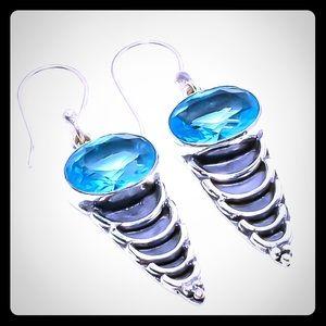 🥳Coming Soon! Blue Topaz 925 Silver Earrings